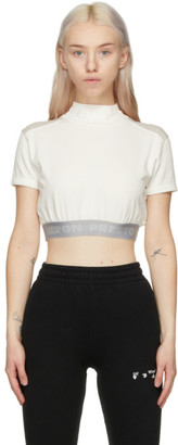 Heron Preston White and Grey Style Crop T-Shirt