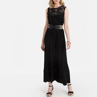 Anne Weyburn Sleeveless Maxi Shift Dress in Jersey with Embroidery