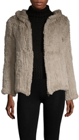 Adrienne Landau Women's Fur Hooded Coat