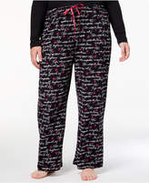 Hue Plus Size Inspirational-Script Printed Pajama Pants