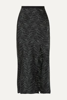 Anine Bing Dolly Animal-print Silk-satin Midi Skirt - Dark green