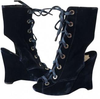 Prada Blue Velvet Boots