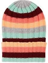 The Elder Statesman Women's Inch Stripe Short Bunny Echo Cashmere Beanie
