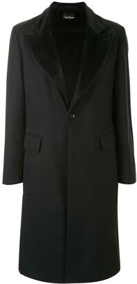 Comme Des Garçons Pre Owned Faux-Fur Lined Knee-Length Coat