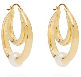Sophie Buhai Double-hoop Gold-vermeil And Faux-pearl Earrings - Gold
