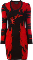 Philipp Plein flame pattern knitted dress