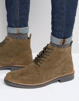Frank Wright Suede Brogue Boots In Taupe