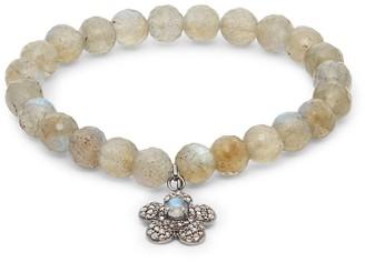 Bavna Tonal Labradorite Pave Diamond Beaded Charm Bracelet