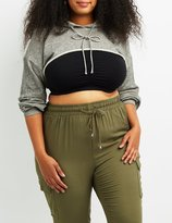 Charlotte Russe Plus Size Open Cropped Hoodie