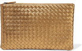 Bottega Veneta Metallic Intrecciato Leather Pouch - Gold