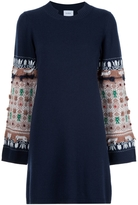 Barrie Embroidered Sleeve Knit Dress - Navy