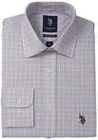 U.S. Polo Assn. Men's Plaid Tattersal Semi Spread Collar Dress Shirt