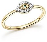 Adina 14K Yellow Gold Super Tiny Pave White & Blue Diamond Evil Eye Ring