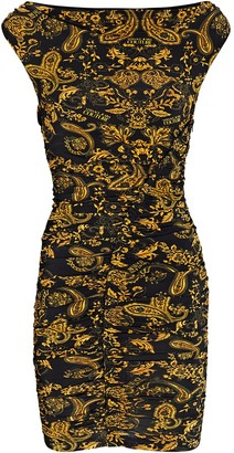 Versace Jeans Couture Ruched Logo Baroque Mini Dress