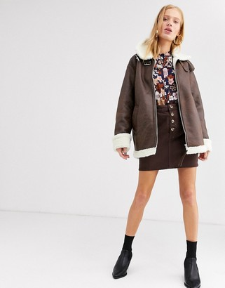 Monki faux leather aviator jacket in brown