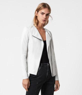 AllSaints Fawn Leather Biker Jacket