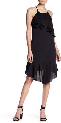Bebe Asymmetrical Ruffle Halter Dress