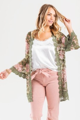 francesca's Seela Bell Sleeve Lace Duster - Olive