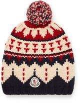Moncler Fair Isle Virgin Wool Bobble Hat - Navy