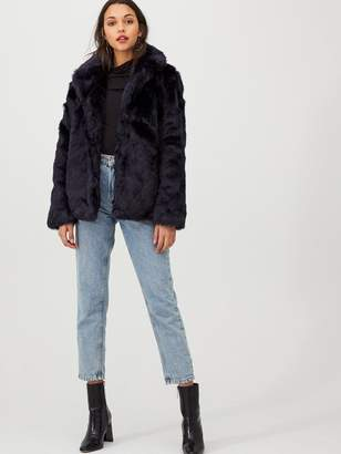 Very Short Faux Fur Coat - Navy
