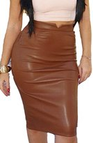 Prograce Ladies PU Leather Empire Waist Tight Bodycon Knee Length Skirt M