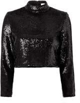 A.L.C. Keegan Sequin Black Crop Top