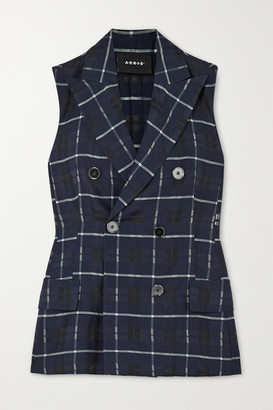 Akris Gerno Double-breasted Checked Cotton And Silk-blend Vest - Navy