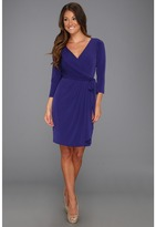 Suzi Chin for Maggy Boutique - 3/4 Sleeve V-Neck Faux Wrap Dress (Blue Bird) - Apparel