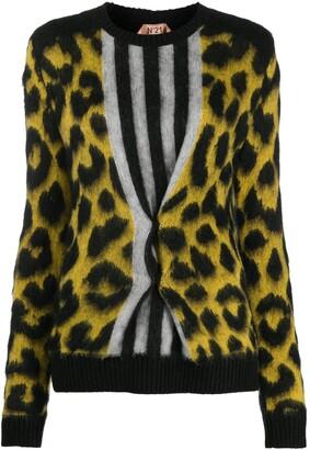 No.21 Leopard Knit Striped Jumper
