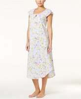 Charter Club Flutter-Sleeve Printed Crinkle Knit Nightgown, Only at Macy's