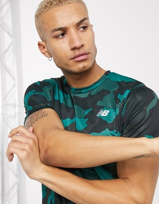 New Balance Running accelerate t-shirt in green camo print