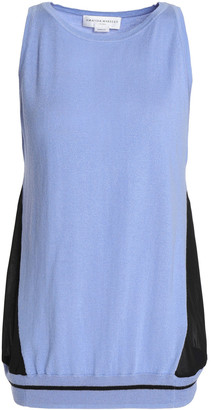 Amanda Wakeley Voile-paneled Silk, Wool And Cashmere-blend Top