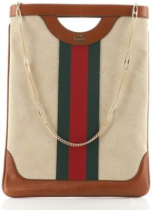 Gucci Vintage Cut Out Handle Chain Bag Web Canvas