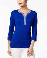 Karen Scott Cotton Roll-Tab Henley Top, Only at Macy's
