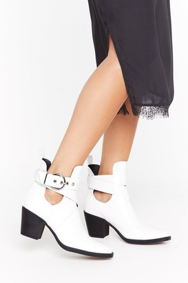 Nasty Gal Womens Time's Runnin' Cut-Out Faux Leather Heeled Boots - White - 3