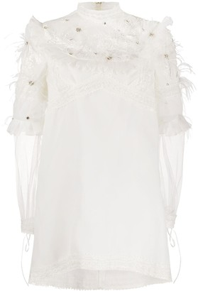 Loulou Feather Embellished Shift Dress