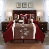 Floral 7-Piece Comforter Set in Burgundy/Brown