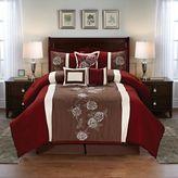 Floral 7-Piece Comforter Set in Burgundy/Brown