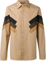 Neil Barrett tri-stripe panel shirt - men - Cotton - 43