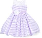 Purple Stripe Flower-Sash Dress - Infant Toddler & Girls