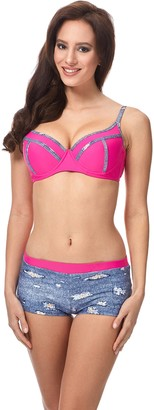 Merry Style Women's Bikini Set MSVR725 (Blue Jeans/Pink EU 42 = UK 14)
