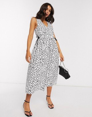 ASOS DESIGN cotton poplin wrap smock midi dress with drawstring waist in mono splodge print