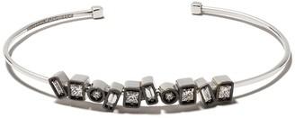 Suzanne Kalan 18kt white gold DSM exclusive black rhodium inlay diamond cuff