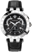 Versace 42mm Men's V-Race Chronograph Watch w/ Leather Strap, Black