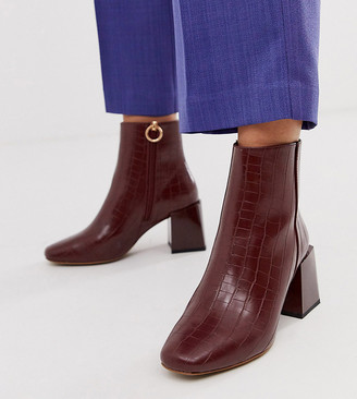 ASOS DESIGN Wide Fit Reed heeled ankle boots in brown croc