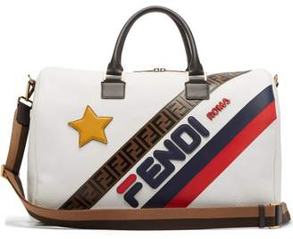 Fendi Mania Logo-applique Leather Holdall - Womens - White Multi