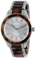 Kenneth Jay Lane Women's KJLANE-2216 Silver Dial Stainless Steel and Brown Tortoise Resin Watch