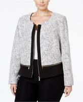 Calvin Klein Plus Size Multi-Zip Basketweave Jacket