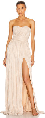 Jonathan Simkhai Rory Strapless Cross Front Gown in Dove | FWRD