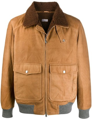 Brunello Cucinelli shearling collar bomber jacket